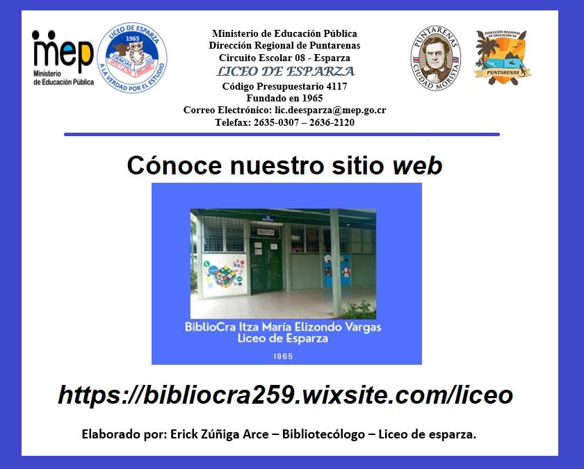 Sitio Web: Biblioteca Itza María del Liceo De Esparza