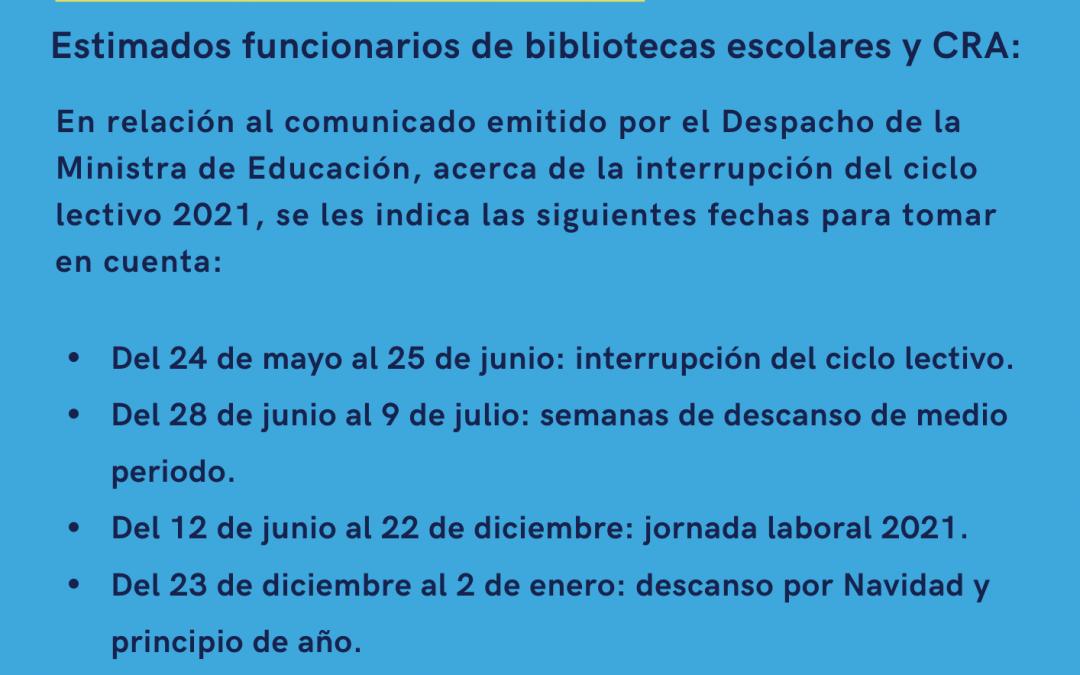 Información general sobre la reorganización del curso lectivo 2021