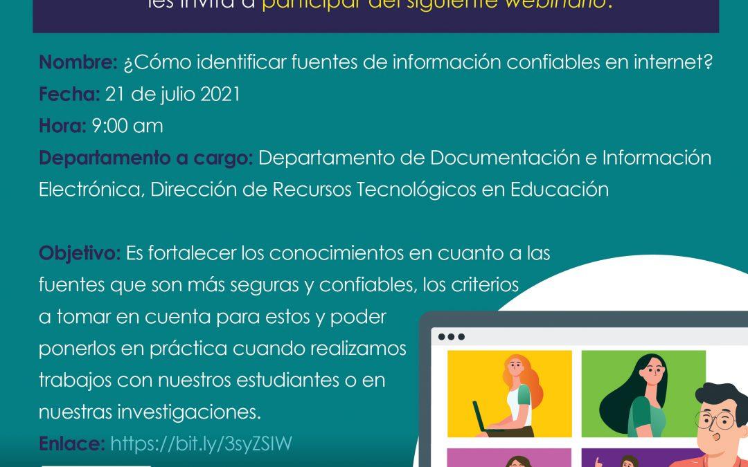 Invitación al webinario ¿Cómo identificar fuentes de información confiables en internet?