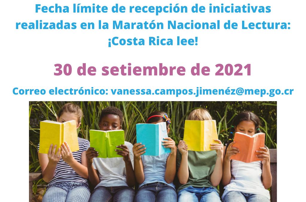 Fecha limite entrega de iniciativas realizadas en la Maratón Nacional de Lectura: ¡Costa Rica lee!