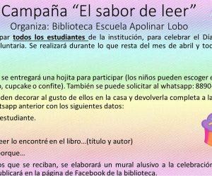 """Actividad realizada en la escuela Apolinar Lobo de la Dirección Regional de Educación de San José Norte: """"Campaña El Sabor de Leer."""